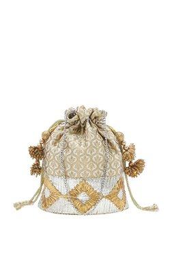 Tarusa Golden & Silver Embroidery Fabric Potli