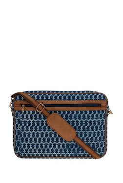 Tarusa Navy Blue Printed Fabric Laptop Messenger Bag