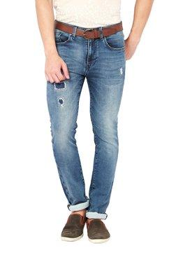 Van Heusen Blue Mid Rise Slim Fit Distressed Jeans