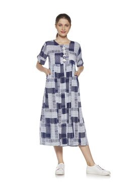 Zudio Navy Check Printed Fit-and-Flare Dress