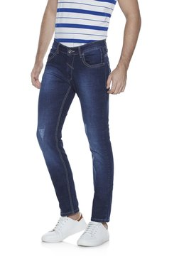 Zudio Navy Slim Fit Stretch Jeans