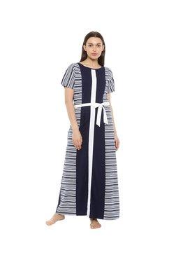 Mystere Paris Navy & White Striped Long Dress