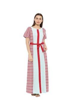 Mystere Paris Red & White Striped Long Dress