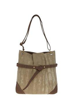 Tarusa Khaki & Brown Textured Canvas Shoulder Bag