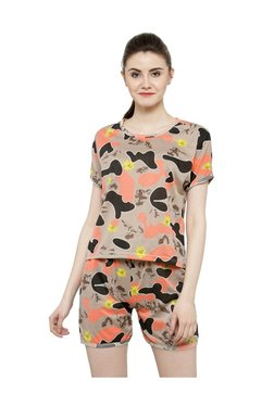 N-Gal Brown Printed Top With Shorts