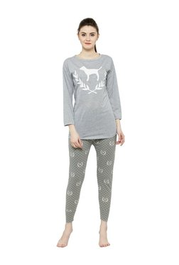 N-Gal Grey Printed Top With Pyjamas