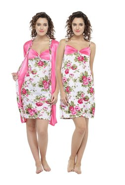 N-Gal Pink Floral Print Nighty With Robe