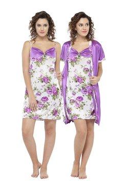 N-Gal Purple Floral Print Nighty With Robe