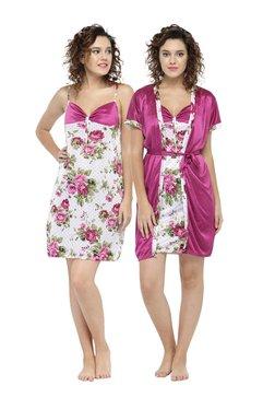 N-Gal Magenta Floral Print Nighty With Robe