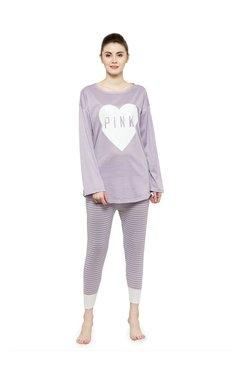 N-Gal Purple Printed Top With Pyjamas