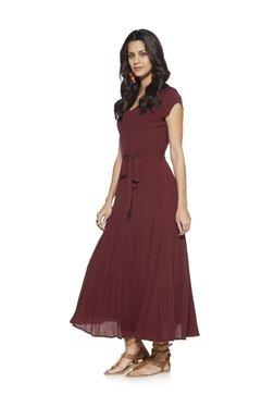 LOV by Westside Burgundy Maxi Dress
