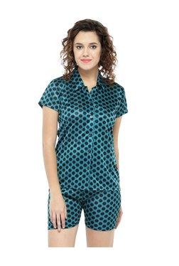 N-Gal Green Polka Dot Satin Top With Shorts