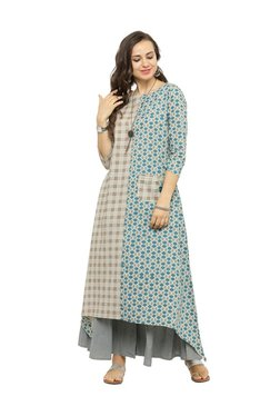 Varanga Taupe & Grey Cotton Printed Kurta With Palazzo
