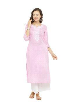 Varanga Pink & White Cotton Printed Kurta With Palazzo
