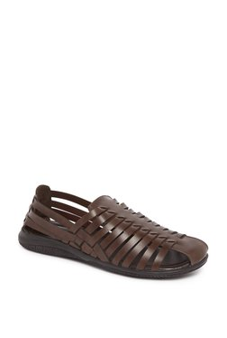Zudio Brown Faux Leather Fisherman Sandals
