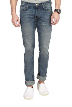 Lee Light Blue Distressed Skinny Fit Jeans