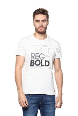 Octave White Round Neck Printed T-Shirt