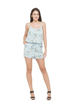 Globus Blue Floral Print Viscose Playsuit