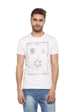 Octave White Round Neck Regular Fit T-Shirt
