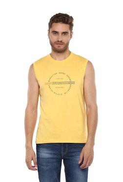 Octave Yellow Round Neck Cotton T-Shirt