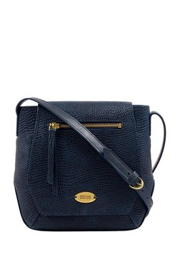 Hidesign Taurus 01 Navy Textured Leather Flap Sling Bag