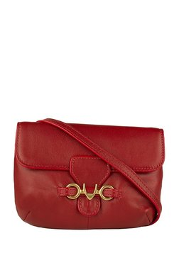 Hidesign Melissa W2 Carmine Red Solid Leather Flap Sling Bag
