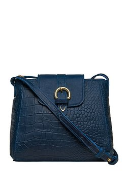 Hidesign Sb Lyra Navy Textured Leather Flap Sling Bag