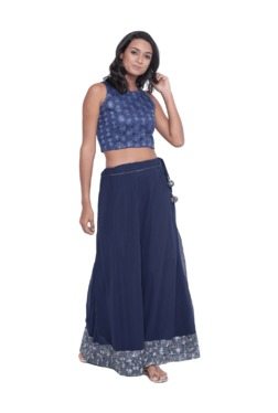 9rasa Navy Embroidered Chiffon Crop Top With Skirt
