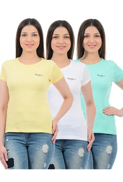 Pepe Jeans Yellow, White & Mint Slim Fit T-Shirt (Pack Of 3) - Mp000000003015308