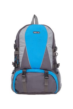 BagsRUs Y-Style Grey & Royal Blue Panelled Travel Backpack