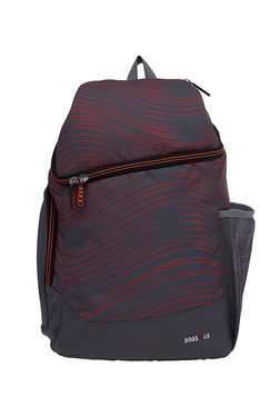 BagsRUs Traveller Dark Grey & Red Striped Laptop Backpack