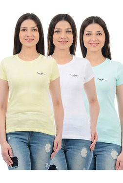 Pepe Jeans Yellow, White & Mint Slim Fit T-Shirt (Pack Of 3)