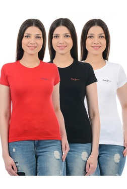 Pepe Jeans Red, Black & White Slim Fit T-Shirt (Pack Of 3)