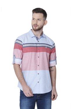 Urban Scottish Light Blue Striped Full Sleeves Shirt