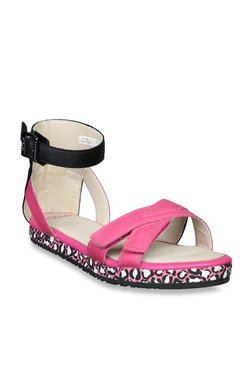 Clarks Kids Pink & Black Ankle Strap Sandals