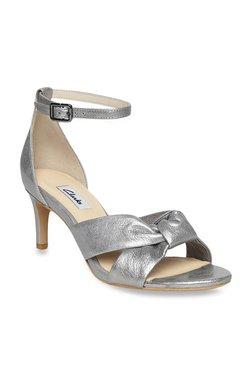 dbd89efe274550 Clarks Amali Tulip Silver Ankle Strap Stilettos