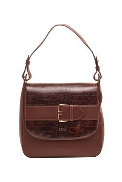Tohl Chocolate & Dark Brown Textured Leather Shoulder Bag