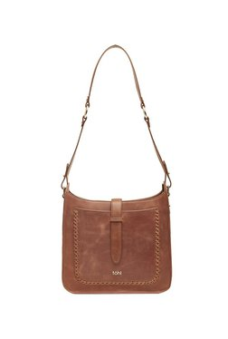 Tohl Tan Distressed Pattern Leather Shoulder Bag