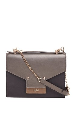 Tohl Black & Dark Grey Color Block Leather Flap Sling Bag