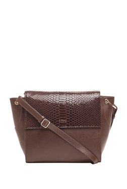 Tohl Chocolate Brown Textured Leather Flap Sling Bag