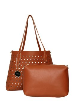 ToniQ Brown Cut Work Shoulder Bag With Pouch