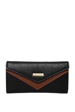 ToniQ Black & Dark Brown Paneled Flap Wallet