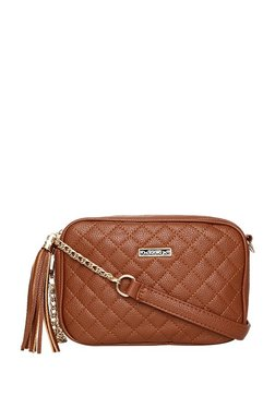 ToniQ Madeline Brown Tassel Quilted Sling Bag