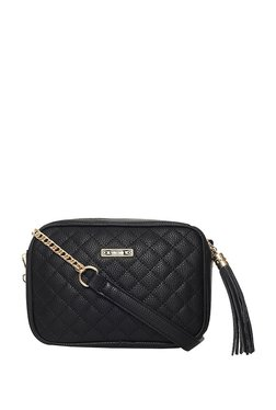 ToniQ Madeline Black Tassel Quilted Sling Bag