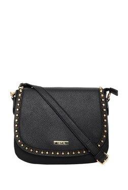 ToniQ Stud Struck Black Embossed Flap Sling Bag