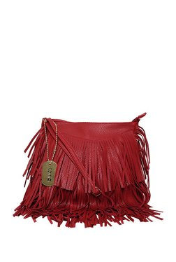 ToniQ Fringe Extravagance Dark Red Fringe Sling Bag