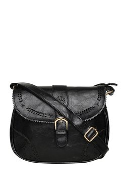 ToniQ Buckle-it-up Black Cut Work Flap Sling Bag