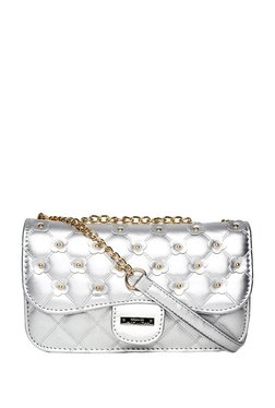 ToniQ Silver Embellished Quilted Sling Bag