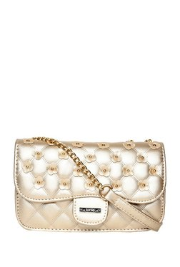 ToniQ Golden Embellished Quilted Sling Bag