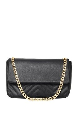 ToniQ Dualist Black Textured Quilted Sling Bag